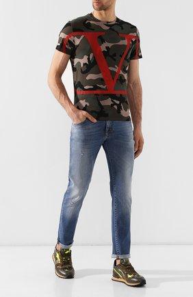Мужская хлопковая футболка VALENTINO хаки цвета, арт. SV3MG02V5FG   Фото 2