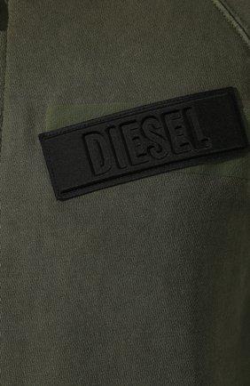 Хлопковая толстовка Diesel хаки | Фото №5