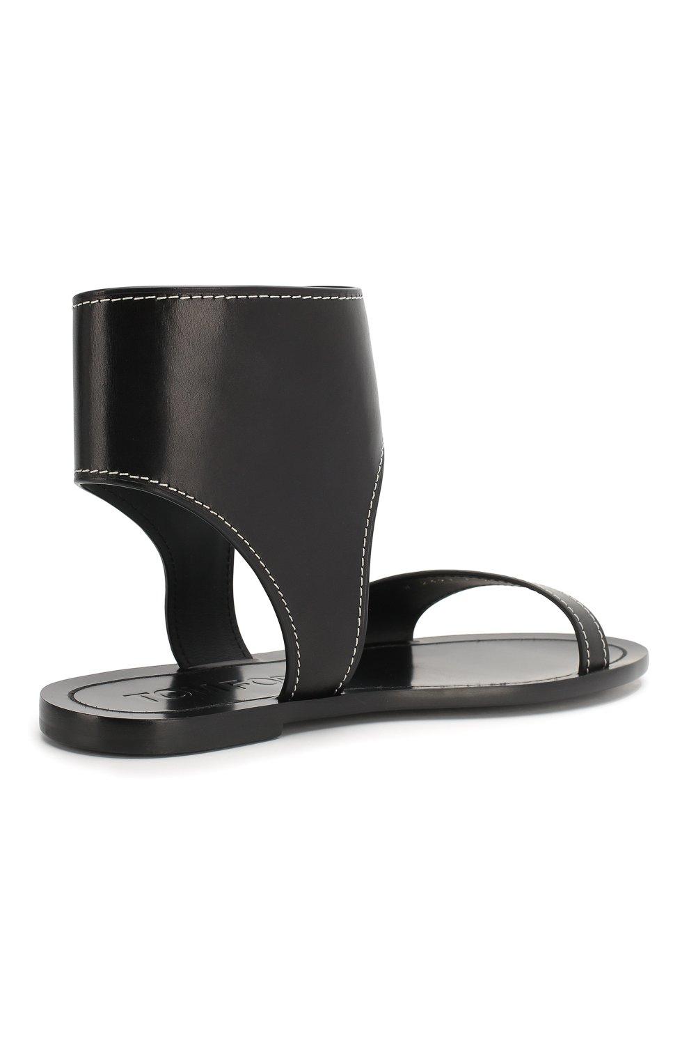 Кожаные сандалии Tom Ford черные | Фото №4