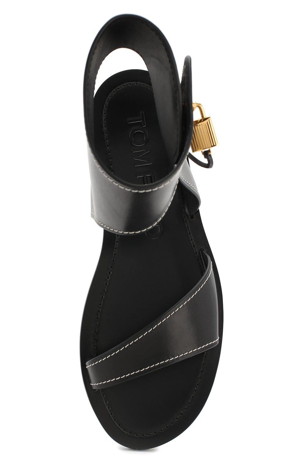 Кожаные сандалии Tom Ford черные | Фото №5