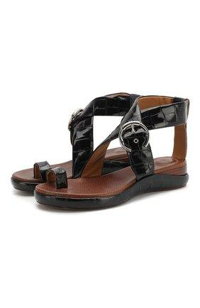 Женские кожаные сандалии wave CHLOÉ черного цвета, арт. CHC19U16102 | Фото 1