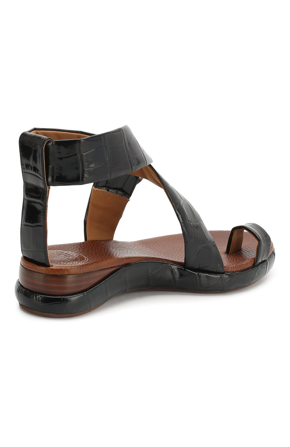 Кожаные сандалии Wave Chloé черные   Фото №4