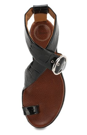 Кожаные сандалии Wave Chloé черные   Фото №5