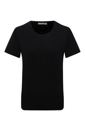 Женская хлопковая футболка THE ROW черного цвета, арт. 852F911 | Фото 1 (Рукава: Короткие; Материал внешний: Хлопок; Длина (для топов): Стандартные; Силуэт Ж (для верхов): Приталенный; Стили: Кэжуэл, Минимализм; Принт: Без принта; Женское Кросс-КТ: Футболка-одежда; Статус проверки: Проверена категория)