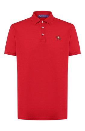 Мужское хлопковое поло RALPH LAUREN красного цвета, арт. 790508036   Фото 1