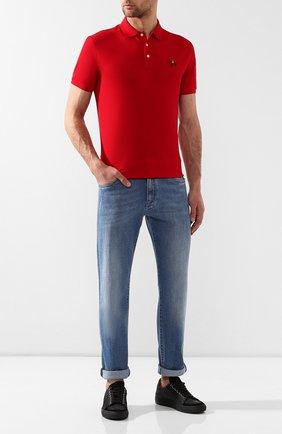 Мужское хлопковое поло RALPH LAUREN красного цвета, арт. 790508036   Фото 2