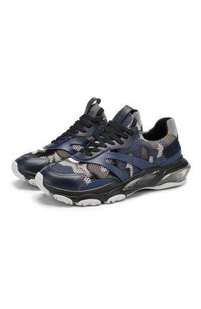 Мужские комбинированные кроссовки valentino garavani bounce VALENTINO синего цвета, арт. SY2S0B15/ZGG | Фото 1