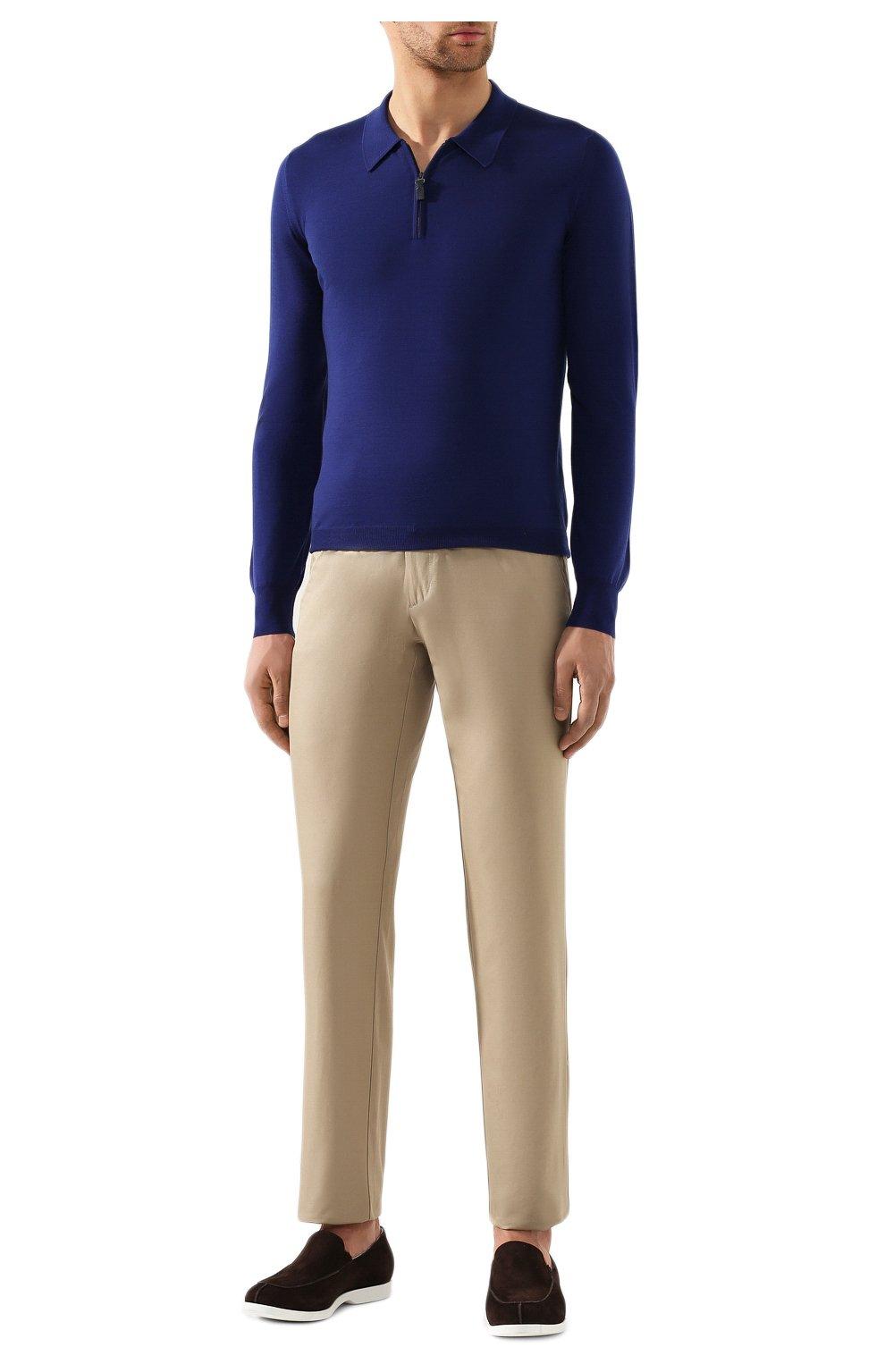 Мужское шерстяное поло BRIONI синего цвета, арт. UMS10L/0ZK18 | Фото 2