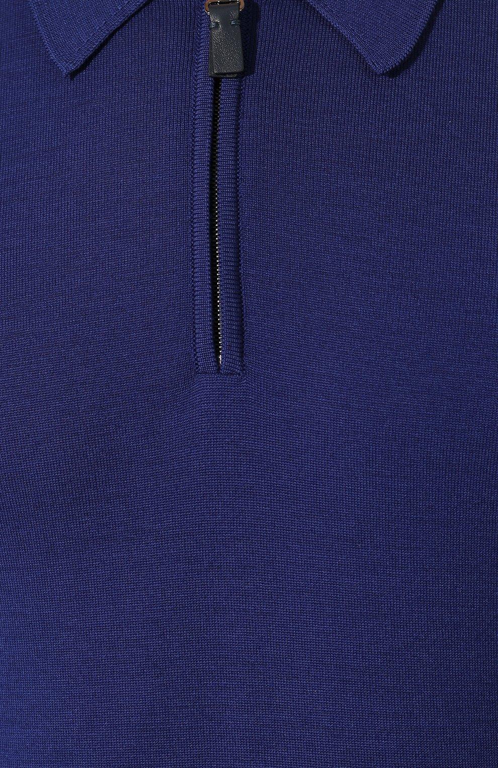 Мужское шерстяное поло BRIONI синего цвета, арт. UMS10L/0ZK18 | Фото 5