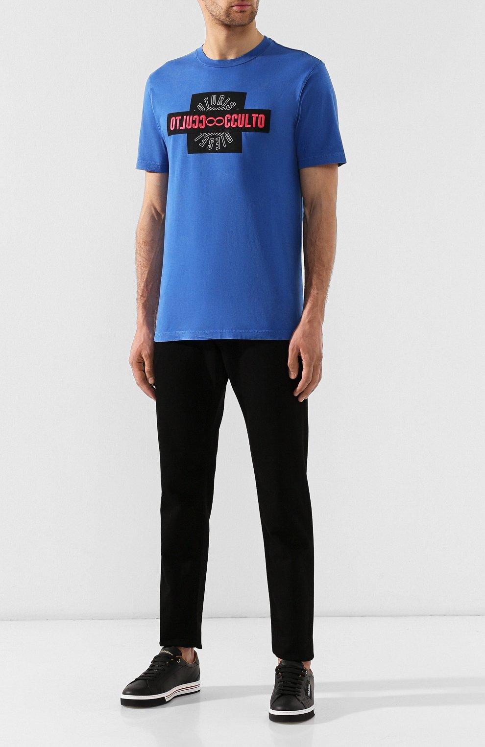 Хлопковая футболка Diesel синяя   Фото №2