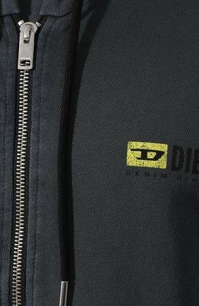 Хлопковая толстовка Diesel серый | Фото №5