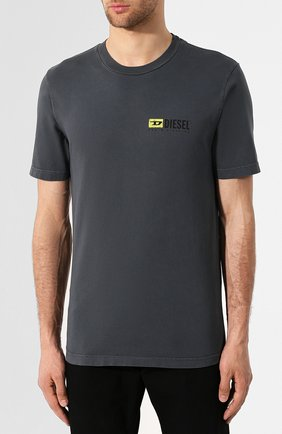 Хлопковая футболка Diesel серая | Фото №3