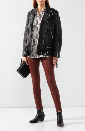 Женские кожаные леггинсы YVES SALOMON коричневого цвета, арт. 9EYP207XXAPSX | Фото 2
