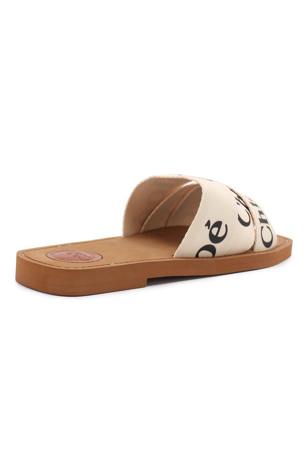 Комбинированные шлепанцы Woody Chloé светло-бежевые | Фото №4
