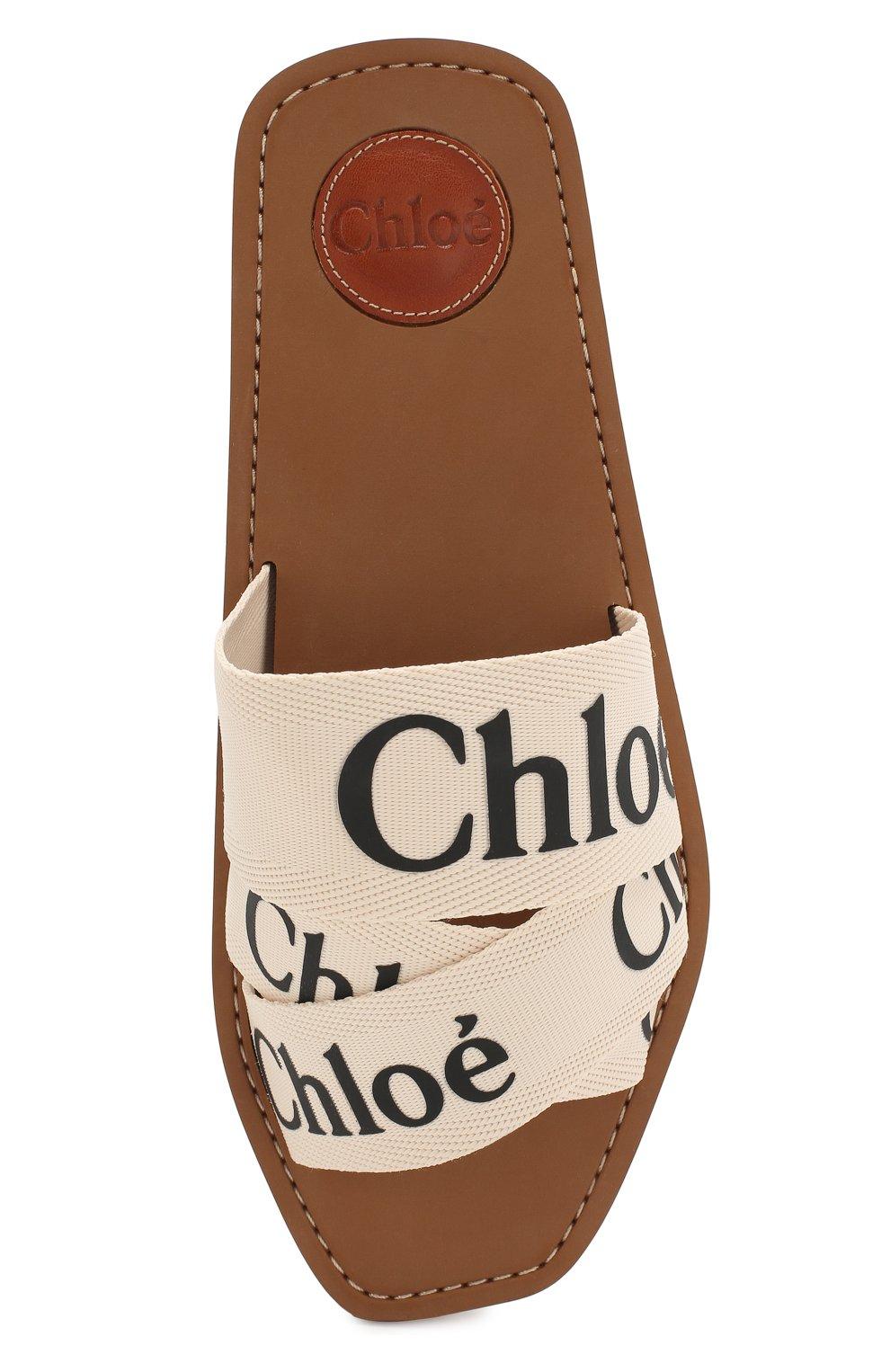 Комбинированные шлепанцы Woody Chloé светло-бежевые | Фото №5