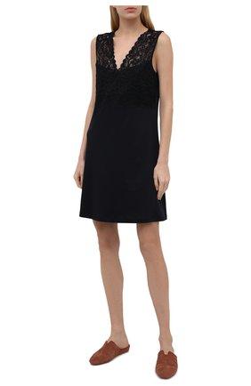 Женская хлопковая сорочка HANRO черного цвета, арт. 077929 | Фото 2