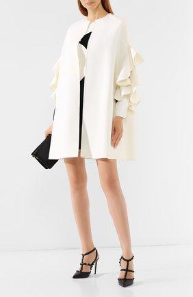 Женская пончо из смеси шерсти и кашемира VALENTINO белого цвета, арт. SB3CG1A015E | Фото 2