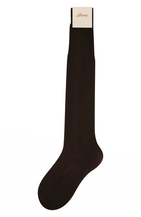 Мужские шелковые гольфы BRIONI коричневого цвета, арт. 0VML00/P3Z21 | Фото 1 (Статус проверки: Проверена категория, Проверено; Материал внешний: Шелк; Кросс-КТ: бельё)