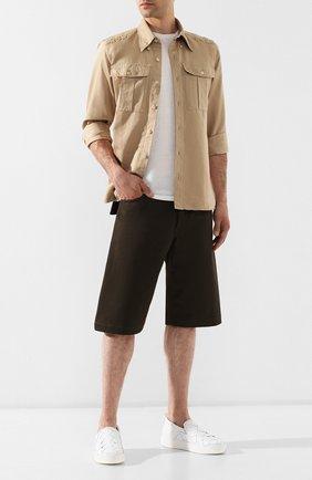 Мужские хлопковые шорты BOTTEGA VENETA хаки цвета, арт. 572996/VF4T0 | Фото 2