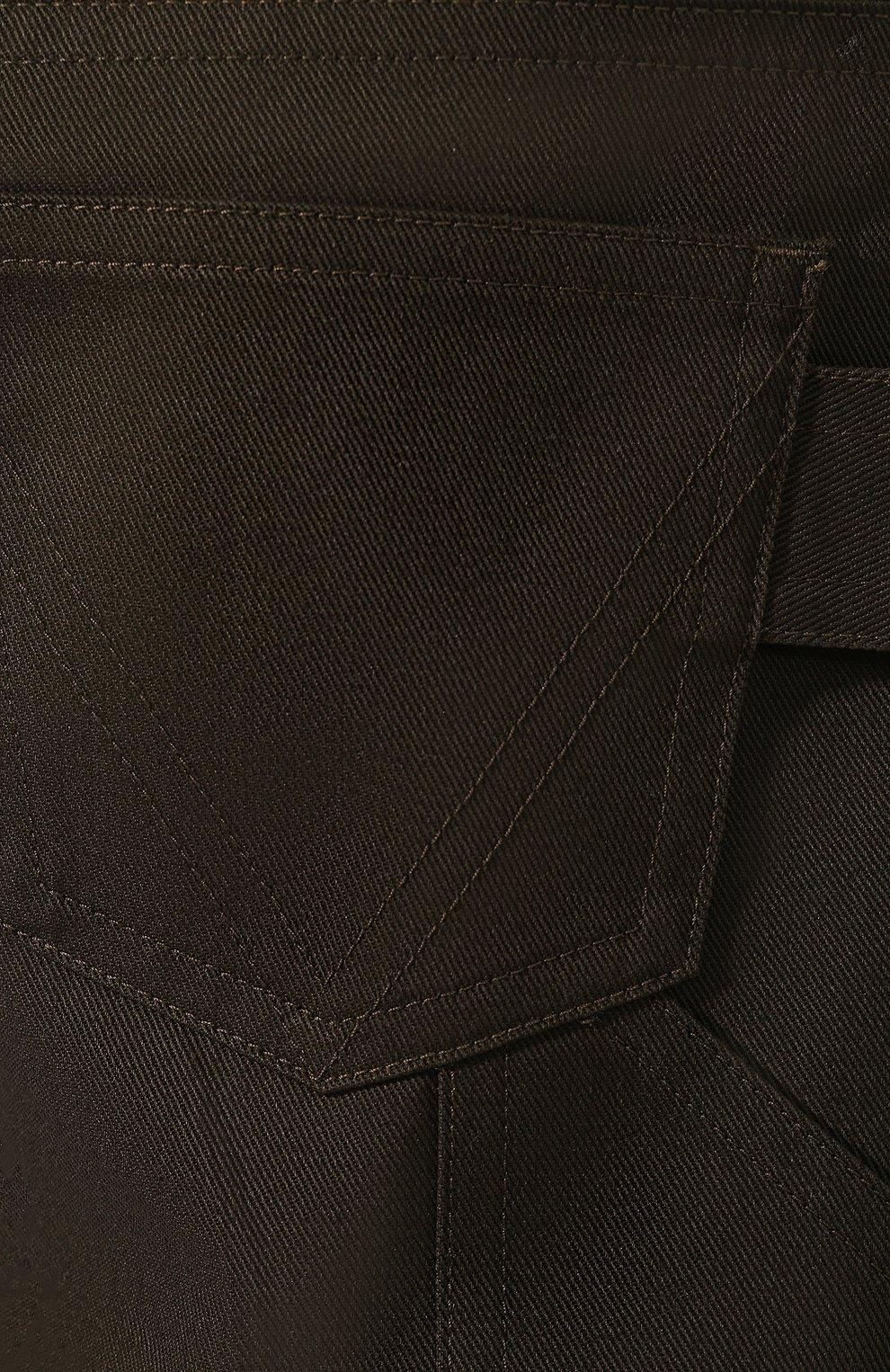 Мужские хлопковые шорты BOTTEGA VENETA хаки цвета, арт. 572996/VF4T0 | Фото 5 (Мужское Кросс-КТ: Шорты-одежда; Принт: Без принта; Длина Шорты М: Ниже колена; Материал внешний: Хлопок; Стили: Минимализм; Статус проверки: Проверена категория)