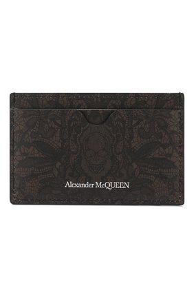 Мужской кожаный футляр для кредитных карт ALEXANDER MCQUEEN хаки цвета, арт. 550820/04YEN | Фото 1