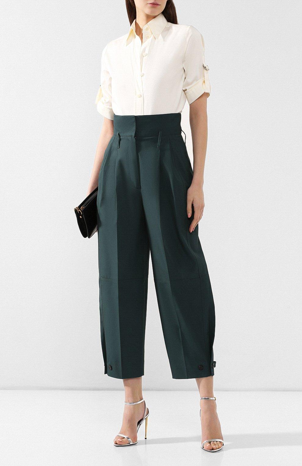 Хлопковые брюки Givenchy зеленые   Фото №2