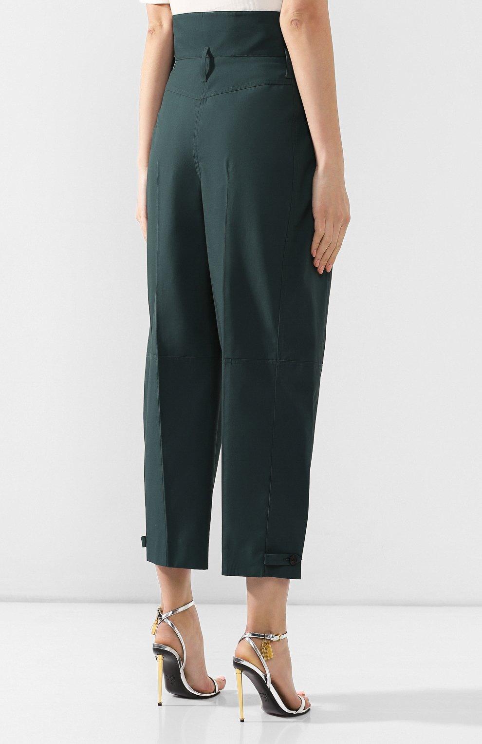 Хлопковые брюки Givenchy зеленые   Фото №4