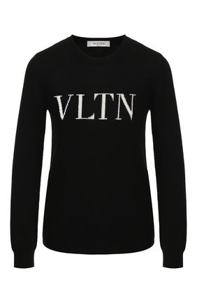Женский пуловер из смеси шерсти и кашемира VALENTINO черно-белого цвета, арт. SB3KC10546T | Фото 1
