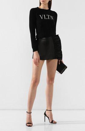 Женский пуловер из смеси шерсти и кашемира VALENTINO черно-белого цвета, арт. SB3KC10546T | Фото 2