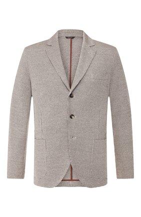Мужской пиджак из смеси льна и хлопка LORO PIANA коричневого цвета, арт. FAI5858 | Фото 1