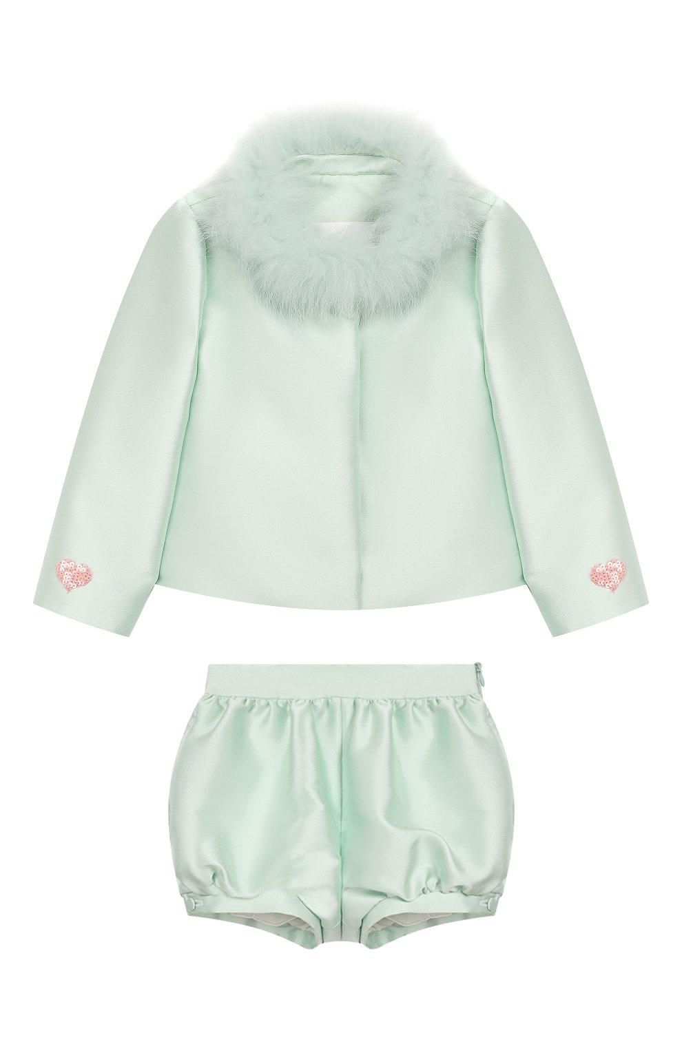 Детский комплект из жакета и шорт BIBIONA светло-зеленого цвета, арт. JK20FW18.  PN20FW18.   Фото 1
