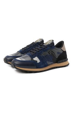 Мужские кожаные кроссовки rockrunner VALENTINO темно-синего цвета, арт. SY2S0723/XVU | Фото 1 (Материал внутренний: Натуральная кожа, Текстиль; Подошва: Массивная)