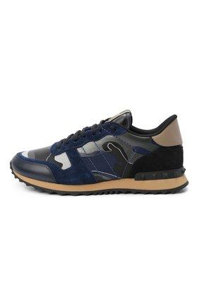 Мужские кожаные кроссовки rockrunner VALENTINO темно-синего цвета, арт. SY2S0723/XVU | Фото 2 (Материал внутренний: Натуральная кожа, Текстиль; Подошва: Массивная)