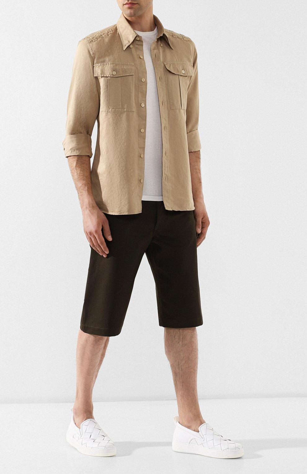 Мужские кожаные слипоны BOTTEGA VENETA белого цвета, арт. 578303/VBPG1 | Фото 2