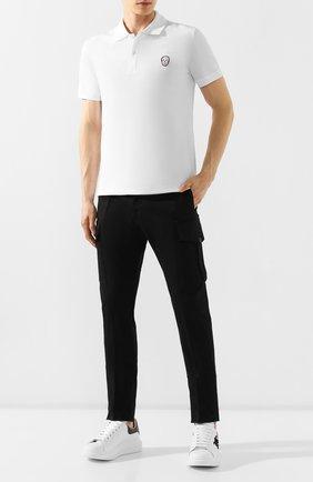 Мужское хлопковое поло ALEXANDER MCQUEEN белого цвета, арт. 575479/QNX33 | Фото 2