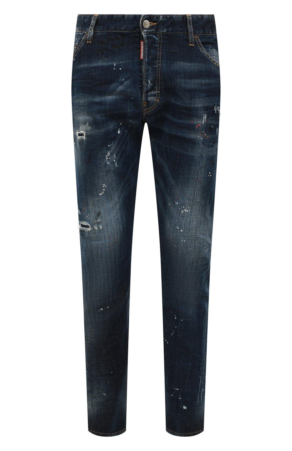 Мужские джинсы DSQUARED2 синего цвета, арт. S74LB0635/S30342 | Фото 1 (Силуэт М (брюки): Прямые; Big photo: Big photo; Кросс-КТ: Деним; Длина (брюки, джинсы): Стандартные; Материал внешний: Хлопок, Деним; Детали: Потертости; Статус проверки: Проверена категория)