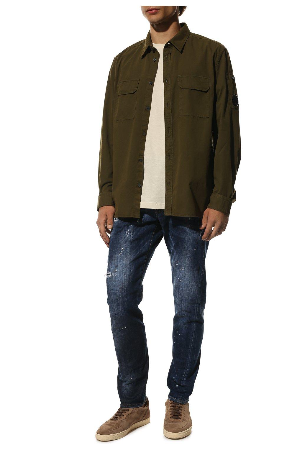 Мужские джинсы DSQUARED2 синего цвета, арт. S74LB0635/S30342 | Фото 2 (Силуэт М (брюки): Прямые; Big photo: Big photo; Кросс-КТ: Деним; Длина (брюки, джинсы): Стандартные; Материал внешний: Хлопок, Деним; Детали: Потертости; Статус проверки: Проверена категория)
