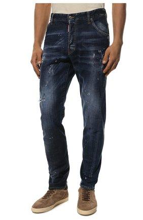 Мужские джинсы DSQUARED2 синего цвета, арт. S74LB0635/S30342 | Фото 3 (Силуэт М (брюки): Прямые; Big photo: Big photo; Кросс-КТ: Деним; Длина (брюки, джинсы): Стандартные; Материал внешний: Хлопок, Деним; Детали: Потертости; Статус проверки: Проверена категория)