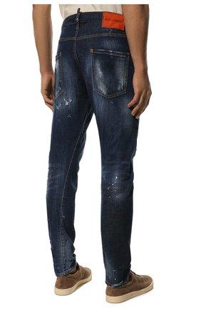 Мужские джинсы DSQUARED2 синего цвета, арт. S74LB0635/S30342 | Фото 4 (Силуэт М (брюки): Прямые; Big photo: Big photo; Кросс-КТ: Деним; Длина (брюки, джинсы): Стандартные; Материал внешний: Хлопок, Деним; Детали: Потертости; Статус проверки: Проверена категория)
