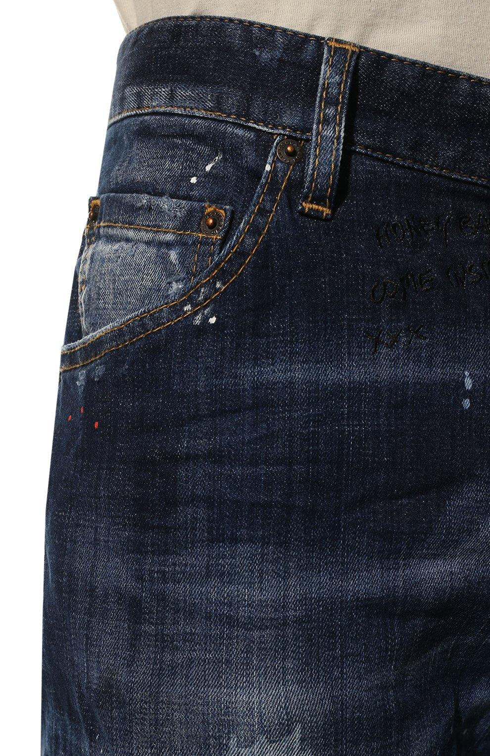 Мужские джинсы DSQUARED2 синего цвета, арт. S74LB0635/S30342 | Фото 5 (Силуэт М (брюки): Прямые; Big photo: Big photo; Кросс-КТ: Деним; Длина (брюки, джинсы): Стандартные; Материал внешний: Хлопок, Деним; Детали: Потертости; Статус проверки: Проверена категория)