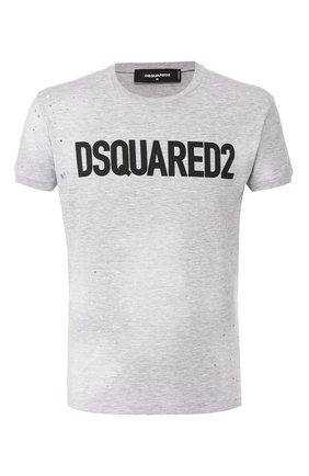 Мужская хлопковая футболка DSQUARED2 серого цвета, арт. S74GD0586/S22146 | Фото 1