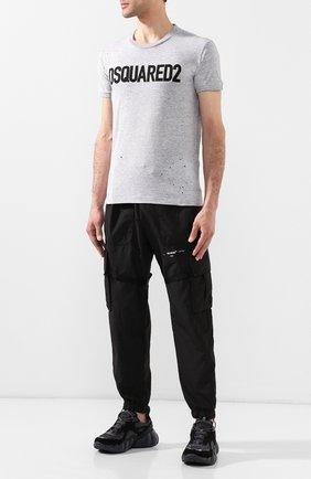 Мужская хлопковая футболка DSQUARED2 серого цвета, арт. S74GD0586/S22146 | Фото 2