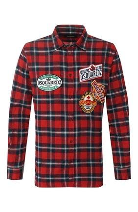 Мужская хлопковая рубашка DSQUARED2 красного цвета, арт. S74DM0279/S52081 | Фото 1