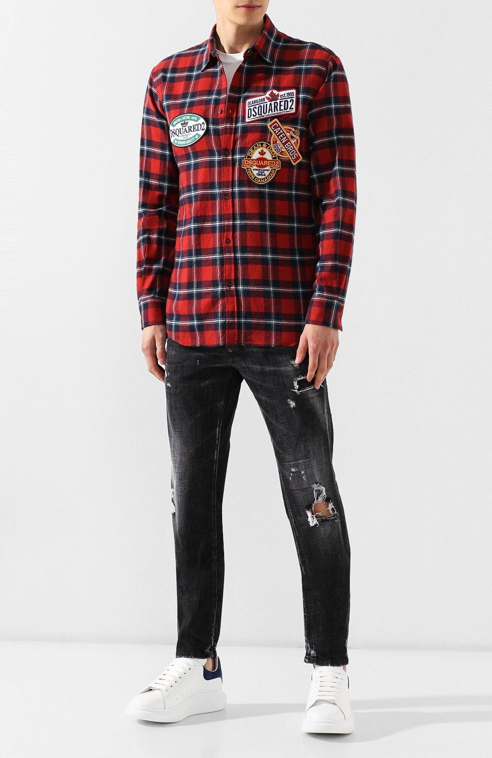 Мужская хлопковая рубашка DSQUARED2 красного цвета, арт. S74DM0279/S52081 | Фото 2