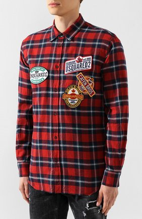 Мужская хлопковая рубашка DSQUARED2 красного цвета, арт. S74DM0279/S52081 | Фото 3