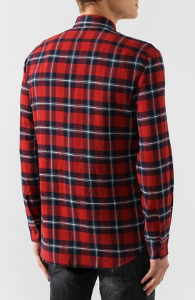 Мужская хлопковая рубашка DSQUARED2 красного цвета, арт. S74DM0279/S52081 | Фото 4