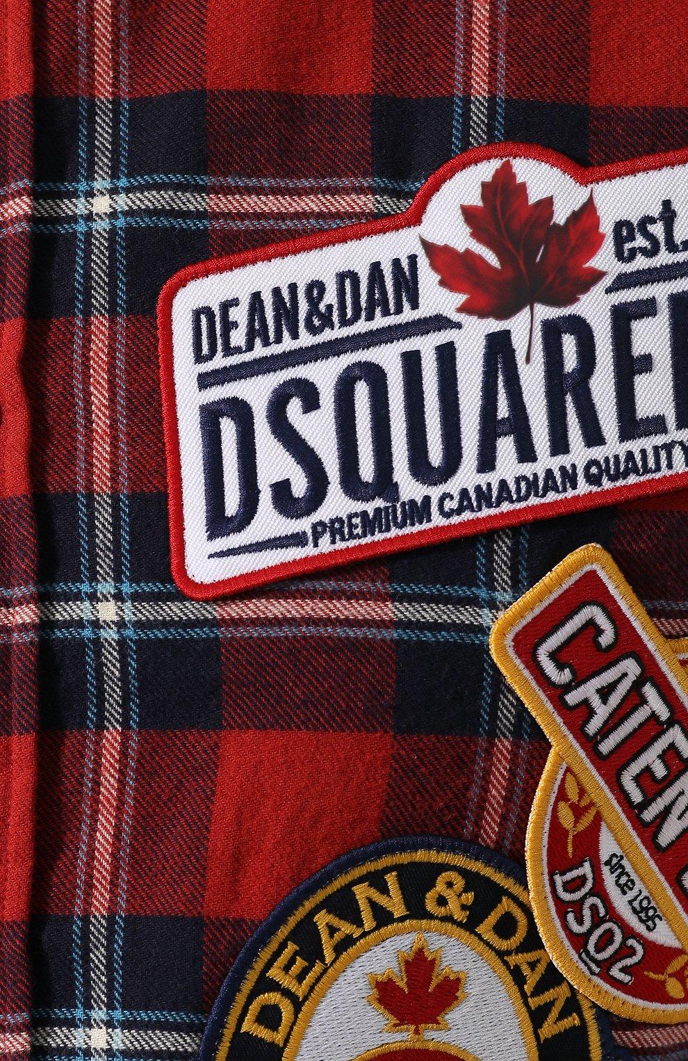 Мужская хлопковая рубашка DSQUARED2 красного цвета, арт. S74DM0279/S52081 | Фото 5