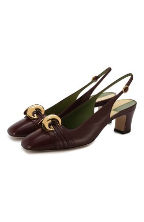 Женская кожаные туфли GUCCI бордового цвета, арт. 572232/C9D00 | Фото 1
