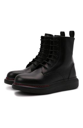 Женские кожаные ботинки ALEXANDER MCQUEEN черного цвета, арт. 586394/WHX51 | Фото 1 (Статус проверки: Проверено, Проверена категория; Подошва: Платформа; Женское Кросс-КТ: Военные ботинки; Материал внутренний: Натуральная кожа)