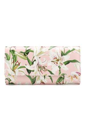 Женские кожаный кошелек DOLCE & GABBANA светло-розового цвета, арт. BI0087/AA201 | Фото 1